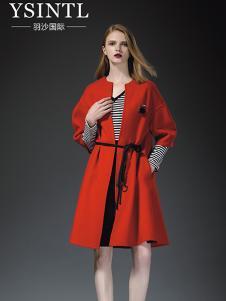 羽沙国际女装红色系带大衣