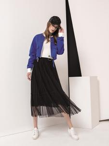 羽沙国际女装黑色网纱半身裙