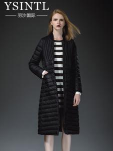羽沙国际女装黑色休闲羽绒服
