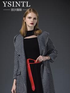 羽沙国际女装灰色千鸟格大衣