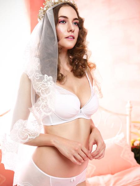 奥丽侬新款白色性感聚拢文胸