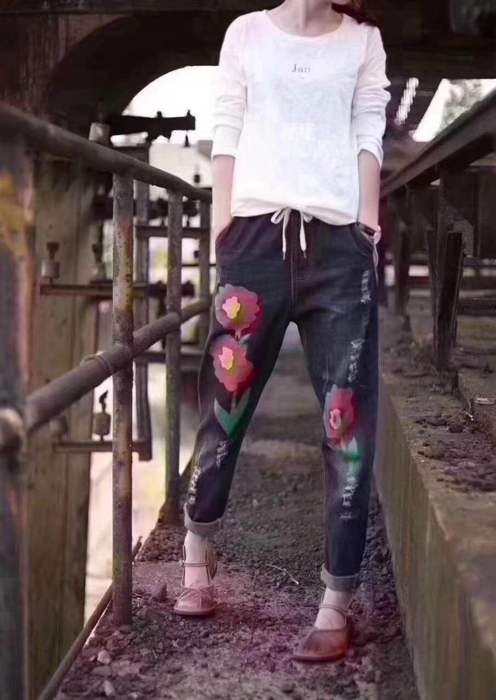 時尚印花女式休閑褲女裝供應