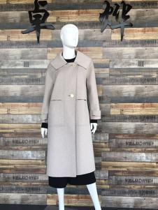 卓烨女装米白色宽松双面呢羊绒大衣