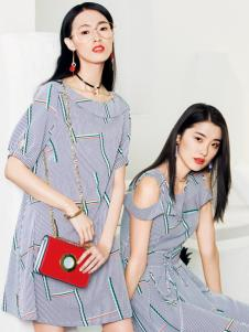 布根香18夏新款条纹连衣裙