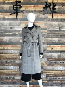 卓烨女装灰色双排扣双面呢羊绒大衣