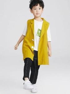 Pillopop童装黄色休闲无袖外套
