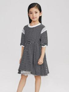 Pillopop童装黑色条纹女裙