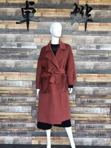 卓烨女装枣红色休闲双面呢羊绒大衣