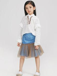 Pillopop童装白色蕾丝T恤