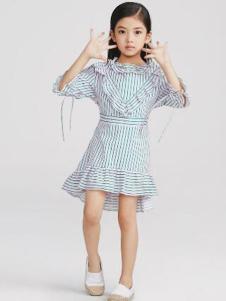 Pillopop童装青色条纹女裙