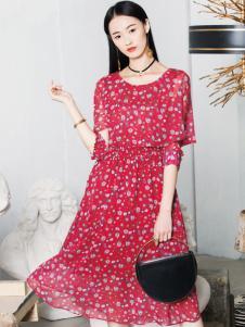 布根香女装18红色印花裙