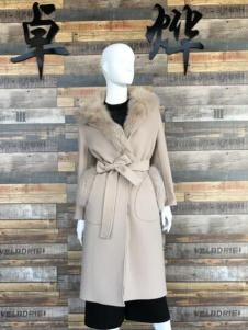 卓烨女装米白色系带双面呢羊绒大衣
