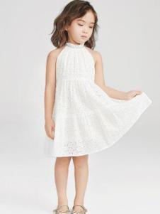 Pillopop童装白色挂脖女裙