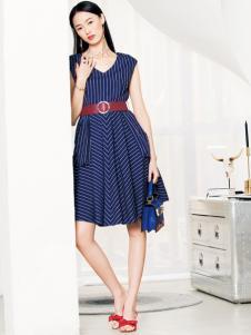 布根香女装18收腰优雅连衣裙