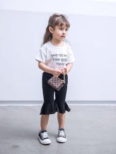 斑尚潮童童装黑色喇叭裤