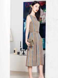 布根香女装18无袖复古连衣裙