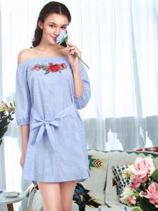 奥丽侬一字肩蓝色刺绣条纹裙子
