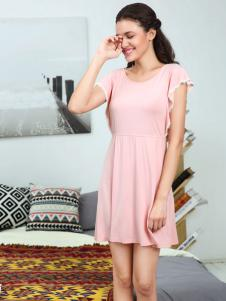 奥丽侬粉色睡衣连衣裙