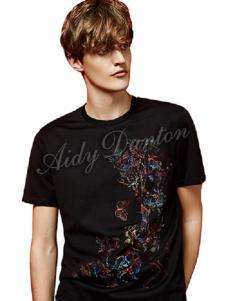爱迪丹顿黑色印花短袖T恤