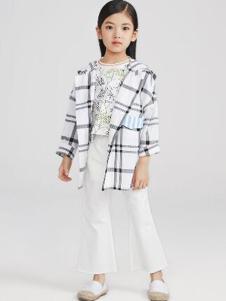 Pillopop童装白色格子外套