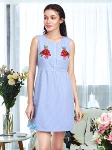 奥丽侬内衣无袖蓝色印花连衣裙