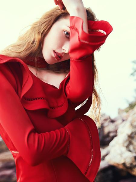 oritick奥伦提18红色荷叶边时装裙