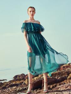 oritick奥伦提18一字肩绿色连衣裙