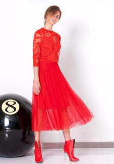 zhangzhuai女装红色蕾丝连衣裙