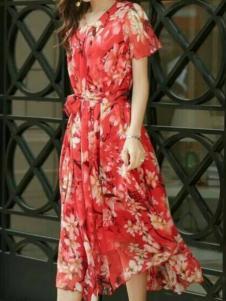 美兰娇丽女装红色印花雪纺裙