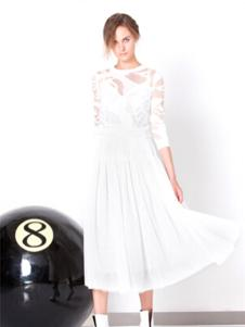 zhangzhuai女装白色蕾丝连衣裙
