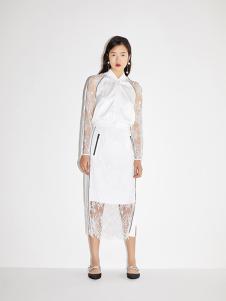 RE'VAN女装白色蕾丝连衣裙