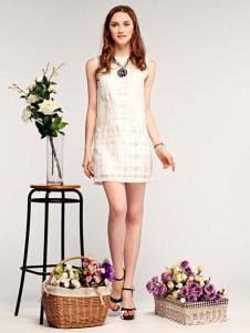 米摩女装白色无袖连衣裙