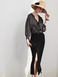 米摩女装黑色波点衬衫