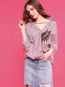 爱境女装红色条纹宽松衬衫