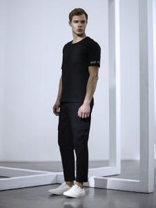 玖生活男装黑色休闲T恤