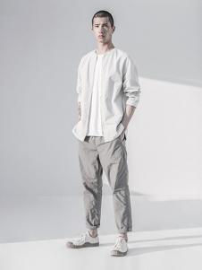 玖生活男装白色休闲外套