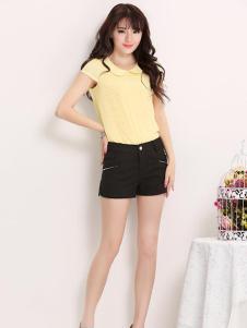 米摩女装黄色修身T恤