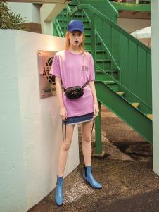 伊纳芙新款紫色T恤