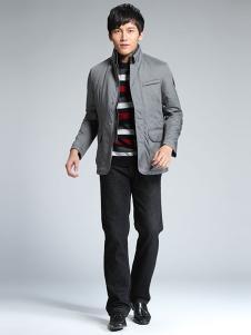 威伯绅男装灰色休闲外套