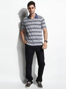 威伯绅男装灰色条纹短袖衬衫