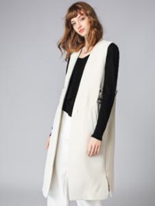 泉姿女装白色无袖西装外套
