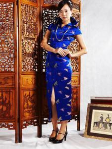 张秋儿女装蓝色短袖旗袍