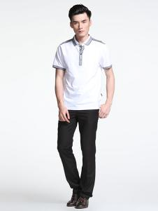 威伯绅男装白色商务T恤