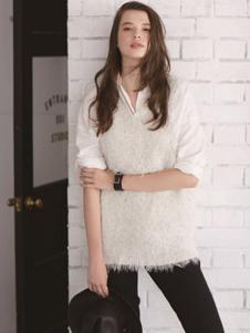 Egolure女装白色假两件衬衫