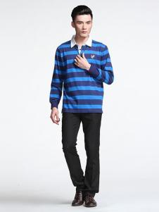 威伯绅男装藏青条纹衬衫