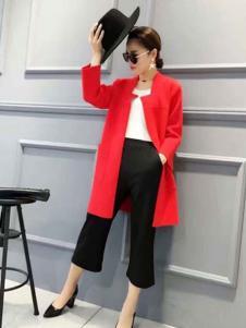 粤韵女装红色针织大衣