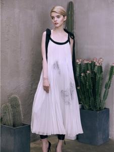 盖娅传说女装白色吊带连衣裙