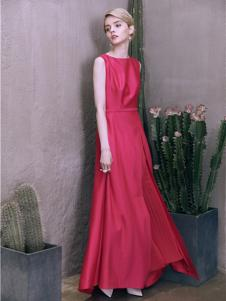 盖娅传说女装梅红色无袖连衣裙