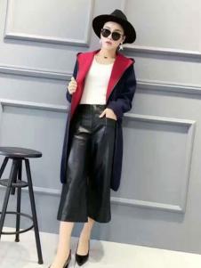 粤韵女装黑色pu宽松休闲裤