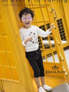 东宫皇子童装白色英文T恤